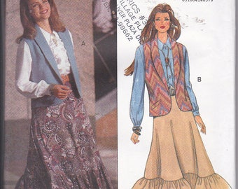 Butterick 6488 Misses Vintage 90s Vest Skirt and Blouse Easy Sewing Pattern Sizes 12-16 Out of Print UNCUT