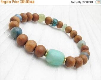 sandalwood bracelet, gemstone bracelet, Peruvian opal bracelet, boho bracelet, wood bracelet, green garnet, labradorite, turquoise, kyanite