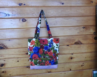 Fruits and flowers vintage fabric tote