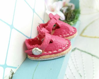Mini Hot Pink Fuchsia Leather Mary Jane T-Strap Shoes For Blythe Dolls Lati Yellow Pukifee Azone Pureneemo M S Body