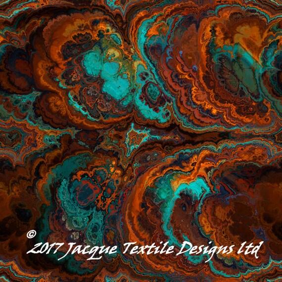 Handmade Velvet Upholstery Fabric Agate Teal Blue Shimmer Fiber Art Fabric