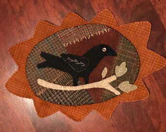 Hand Embroidered Wool Fall Crow Table Mat