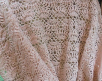 Pink wool shawl shrug wrap blush boho  vintage wedding rustic shabby  bohemian   by vintage opulence on Etsy