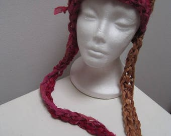 "EARLY FALL SALE gold pink multi-colored crocheted hat with tails, made from upcycled chiffon scraps ""gilded"""