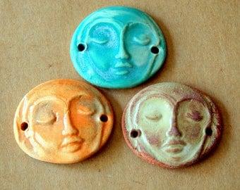 3 Handmade Ceramic Beads - Serene Goddess Cuff Beads - Meditation Face Bracelet Connectors - Colorful Bracelet Links - Summer Beads