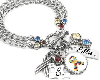 Autism Awareness Charm Bracelet, Autism Jewelry, Customized Autism Jewelry, Personalized Autism Jewelry