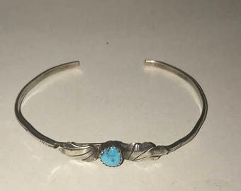Vintage Southwest Sterling and Turquoise Cuff Bracelet-6in wrist