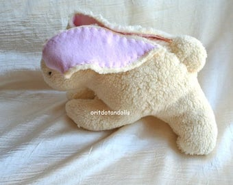 Bunny soft toy made of fur cotton Waldorf education,