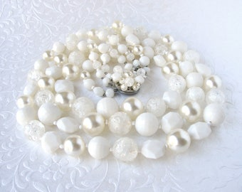 Chunky Necklace Beaded White Wedding Vintage 3 Strand Faux Pearl Cluster Clasp Acrylic Crystal Pearls Sugar Beads Bridal Formal Halloween