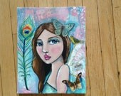 Custom Mixed Media painting, Reserved for Loretta.
