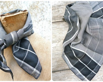 Vintage Antique Victorian 1890/1900s French black & white checks  silk scarf