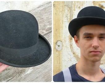 Vintage BLACK BOWLER HAT Fedora Edwardian 1900 French size  7