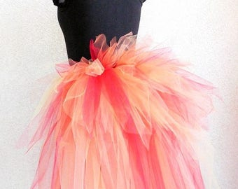SUMMER SALE 20% OFF Fire Fairy Bustle - Women's Custom Sewn 3 Tiered Pixie Tutu Bustle - Up to 24 inches in length