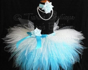 SUMMER SALE 20% OFF Blue White Snowflake Tutu, Snow Queen, Custom Sewn 3 Tiered Pixie Tutu, Girls Tutu up to 5T