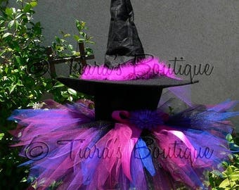 SUMMER SALE 20% OFF Tutu Witch Costume for Halloween - Punkerella, the Spunky Witch - Custom Sewn Tutu & Witch Hat - sizes up to 5T - perfec