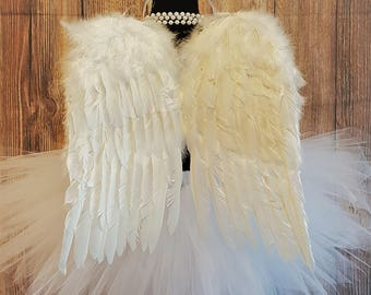 """Angel Tutu Costume w/ Halo - 13"""" Tutu, Angel Wings, and Halo - For Girls, Babies, Toddlers"""