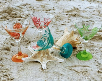 Hand Painted Star Fish and Shell Martini Glasses