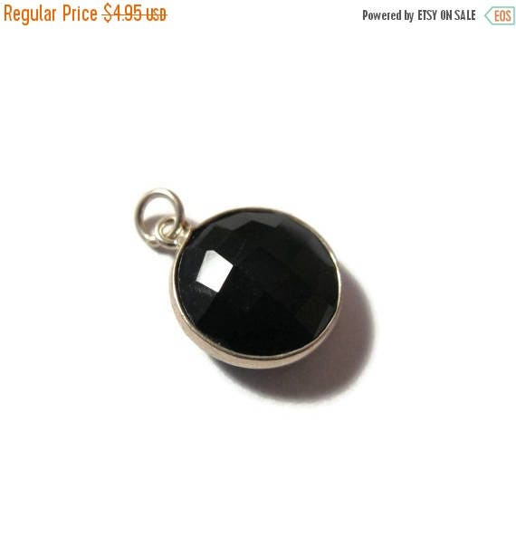 Summer SALEabration - Black Gemstone Charm, One Chalcedony Pendant with Silver Plated Bezel, 13mm Round Gemstone, Jewelry Supplies (C-Ra2d)