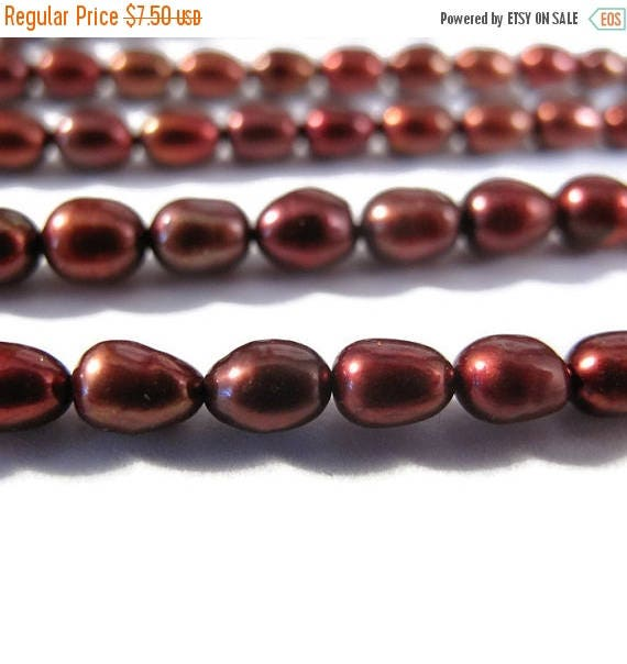 Summer SALEabration - Natural Freshwater Pearl Beads, Brown - Red Rice Pearls, 4.5mm - 5mm, 16 Inch Strand, Jewelry Supplies (P-R6)