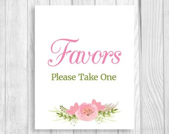 Printable Favors Please Take One 5x7, 8x10 Baby Shower, Bridal Shower Favor Table Sign with Pink Watercolor Flowers - Instant Download