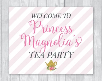 Custom Personalized Princess Tea Party 8x10 Printable Birthday Party Welcome Sign - Pink and Gold Glitter - Tea Pot Flowers - Made to Order