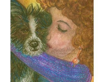 Terrier dog 8x10 Susan Alison art print from watercolor painting rough coated coat Jack Russell JRT black and white terrier woman hugging