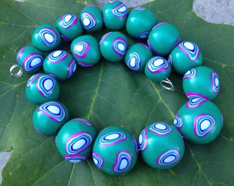 Set of Dark Turquoise Green Round Beads With Bulls Eye Pattern Handmade Polymer Clay Artisan Jewelry Supplies