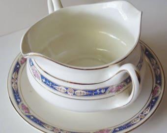 Vintage - HouseWares -  2 Handles/2Spouts - Gravy Boat - Attatched Drip Plate - Roses/Blue - Gorgeous Vintage Treasure!