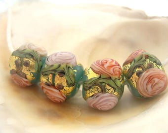 4 Golden Kryptonite Roses Beads Handmade Lampwork