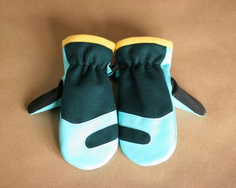 Wool and Leather Mitten | Trail Mitt | Deep Teal Wool Melton and Aqua Lambskin Leather