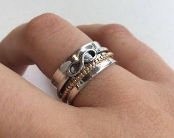 RESERVED to Bonnie - Infinity Ring with 2 gf spinners from the sides - silver gold ring, silver band - Rebellious spirit, R2129