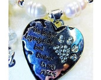 No Longer By My Side But Forever in My Heart Pewter Pendant w Rhinestone Paw Print, White Freshwater Pearls and Crystals Beads Necklace