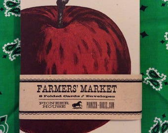 APPLE GREETING CARDS Farmers Market Letterpress Card Pack of 8