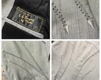 Vintage Pinstripe Jacket western style arrow topstitching by Moda lightweight wool men's suit coat sport jacket