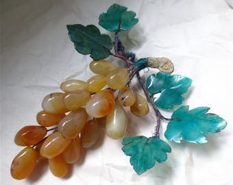 Agate Grape Clusters - Italian Fruits -  Bunch  - Life Like Faux Fruit - Stone Grapes - Vintage 60s Table Display
