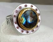 RESERVED FOR E, Labradorite ring, Multi stone ring,  Statement Ring, sapphire halo ring ,  22 kt yellow gold and silver gemstone ring