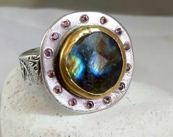 Labradorite ring, Multi stone ring,  Statement Ring, sapphire halo ring ,  22 kt yellow gold and silver gemstone ring