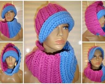 Pink and Blue Hat and Neckwarmer Set - Cowl, Cap, Crochet hat set - handmade cap and scarf - Jack and Jill - Sorority Colors Available