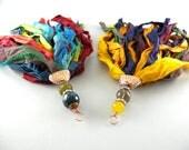Sold Custom Order for Alesia  Copper Bohemian Recycled Rainbow Sari Silk Tassel Detachable Pendant Long Necklace #recycledsarisilk
