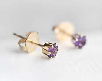 "tiny 14k goldfilled stud earrings - petite everyday jewelry - amethyst gemstones - ""nova"" earrings by elephantine"