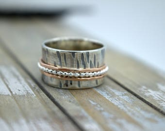 Sterling rosegold spinner ring - rose gold ring meditation ring fiddle ring SR117