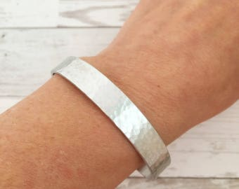 Hammered cuff bracelet - Silver Bracelet - Personalize with Inside Message - Customize Quote - Mens or Womens Stacking Cuff - Gift for her