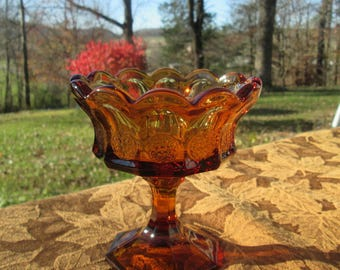 Small Vintage Amber Glass Compote - Gold Glass Footed Candy Dish - Heavy Amber Coin Glass