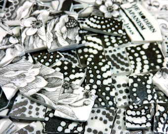 China Mosaic Tiles - BLaCK & WHiTE JaPaNeSe PoTTeRY - 120 Mosaic Tiles