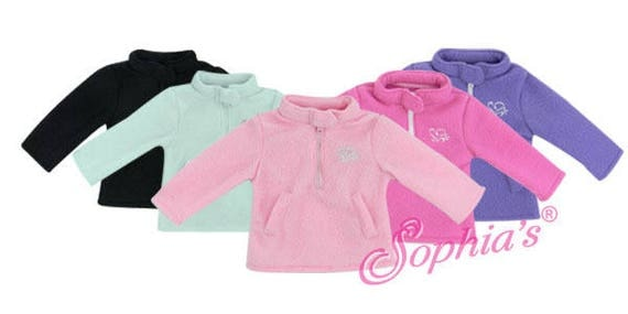 Zipper Fleece Pullover with Heart Logo - 18 Inch Doll Clothes