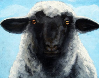 Sheep Black Face realistic Farm animal original oil painting