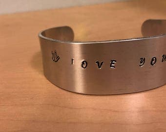 I Love You More Hand Stamped Cuff