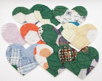 10 Cutter Quilt Hearts - Patchwork Hearts - Vintage Quilt Hearts - Shabby - Primitive - Grandmothers Flower Garden pattern - green