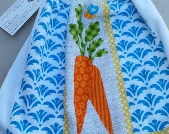 Crocheted Top Kitchen Towel- Carrotts
