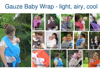 Gauze Baby Wrap, Baby Carrier, Baby Sling, Summer Wrap, Newborn Wrap, baby shower gift, Cool wrap, Non stretchy wrap, Gauze Wrap, DVD